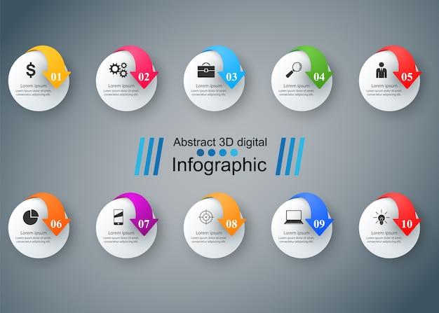 Infografiki biznesowe. lista 10 przedmiotów.
