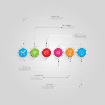 Infografiki biznesowe nowoczesne kolorowe kroki