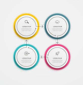 Infografiki biznesowe okrągłe z ikonami i 4 opcjami lub krokami.