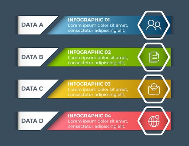 Infografiki biznesowe opcje 4 kroki