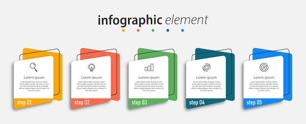 Infografiki biznesowe pięć kroków na osi czasu