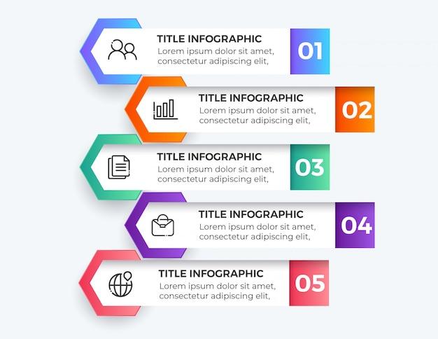 Infografiki biznesowe pięć kroków szablonu projektu