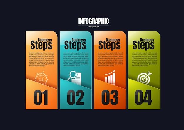 Infografiki biznesowe, szablon projektu wykresu procesu do prezentacji, elementy abstrakcyjnej osi czasu.
