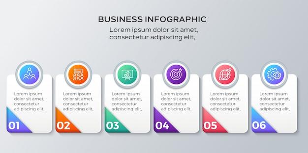 Infografiki biznesowe sześć kroków szablon