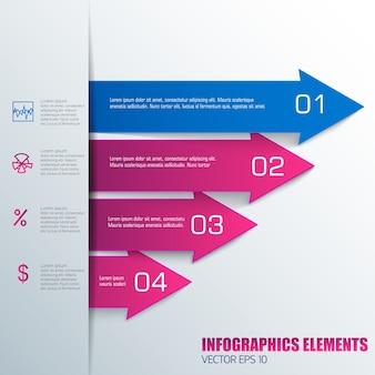 Infografiki biznesowe w kolorach niebieskim i różowym z polami tekstowymi strzałek poziomych