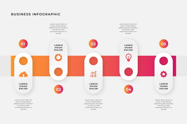 Infografiki biznesowe w płaskiej konstrukcji