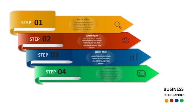 Infografiki biznesowe w postaci kolorowych strzałek z tekstem i ikonami.