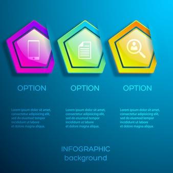 Infografiki biznesowe w sieci web z ikonami trzy opcje i błyszczące kolorowe sześciokąty na niebieskim tle na białym tle
