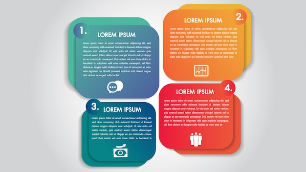 Infografiki biznesu 4 kroki opcje szablon projektu.