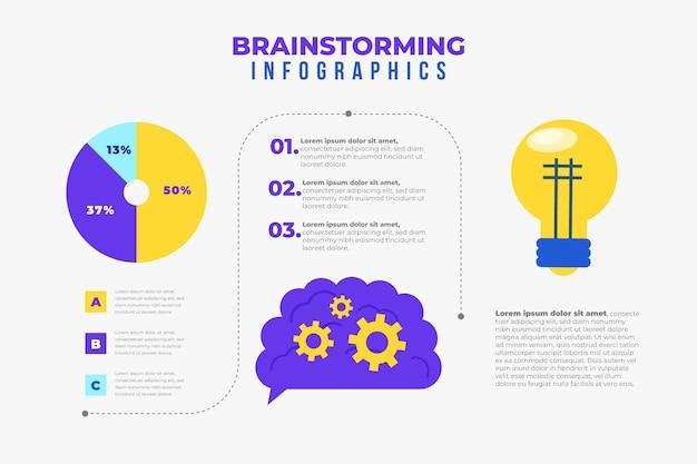 Infografiki burzy mózgów w płaskiej konstrukcji