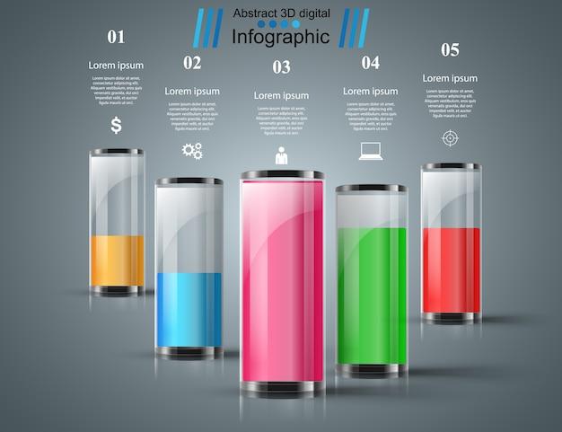Infografiki butelki, wody.