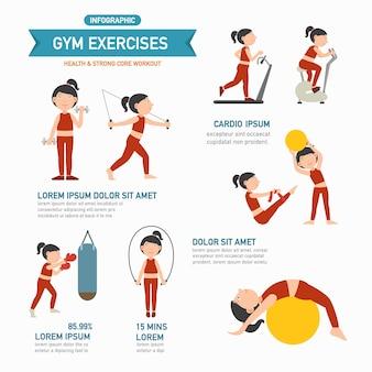 Infografiki ćwiczeń gym. wektor