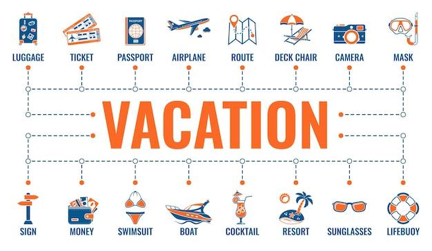 Infografiki czas wakacji i turystyki z dwoma kolorowymi płaskimi ikonami trasa, bilet, samolot, koktajl i leżak.