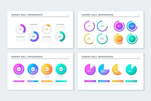 Infografiki diagramy piłka gradientu harvey