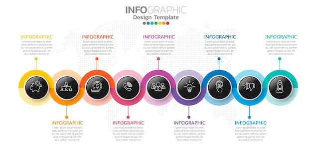 Infografiki dla biznesu z ikonami i opcjami lub krokami.