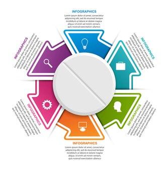 Infografiki dla medycyny pigułka ze strzałkami w kółku