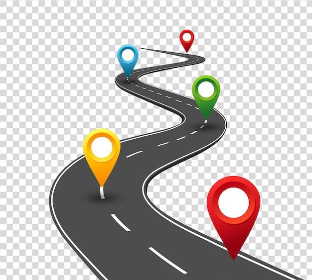 Infografiki drogowe. kręta droga do sukcesu dzięki wskaźnikom pinowym. sposób podróży służbowej. postęp