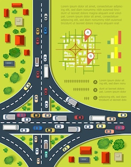 Infografiki drogowe z autostradami z dużą ilością samochodów. mapa zagęszczenia ruchu i transportu miejskiego. widok z góry na miasto z domami i autostradami.