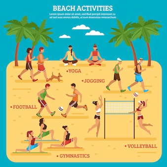 Infografiki działań na plaży