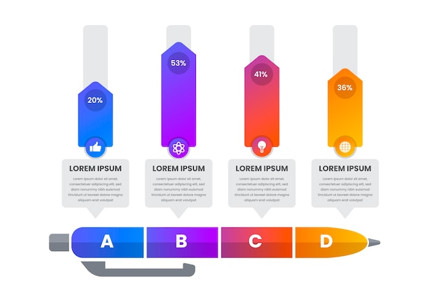 Infografiki edukacji gradientu