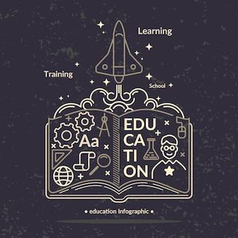 Infografiki edukacji. nowoczesna ilustracja w stylu płaski.