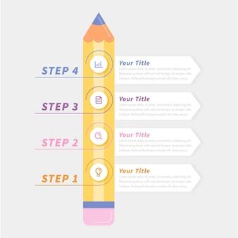 Infografiki edukacji w płaskiej konstrukcji