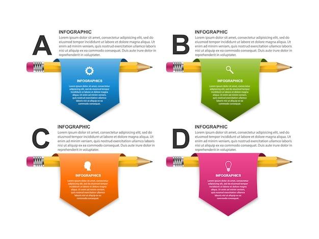 Infografiki Edukacji Z Ołówkami Premium Wektorów