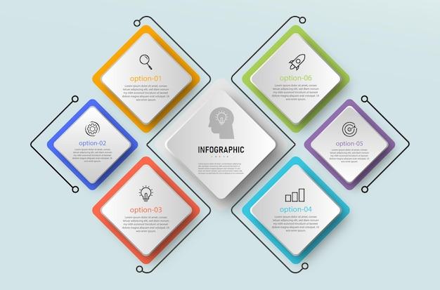 Infografiki elementu wielokąta, biznesowy diagram graficzny, oś czasu z 6 krokami