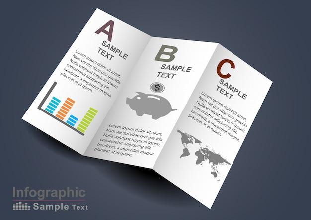 Infografiki elementy na papierze 3d