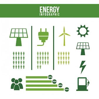 Infografiki energii na białym tle