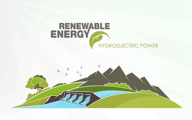 Infografiki energii odnawialnej z elementami wody słońca, wiatru i ziemi.