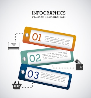 Infografiki etykiety na szarym tle