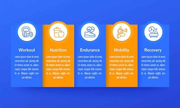 Infografiki fitness, baner z ikonami