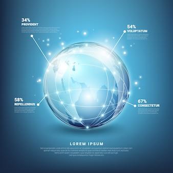 Infografiki globalnych sieci. technologia ziemi w sieci, sfera mapy planety
