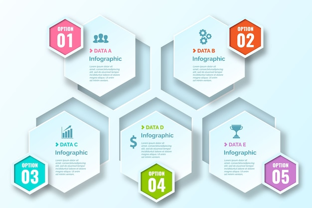 Infografiki gradientowe o strukturze plastra miodu z piktogramami