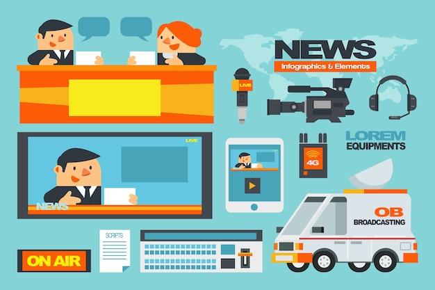 Infografiki i elementy news.