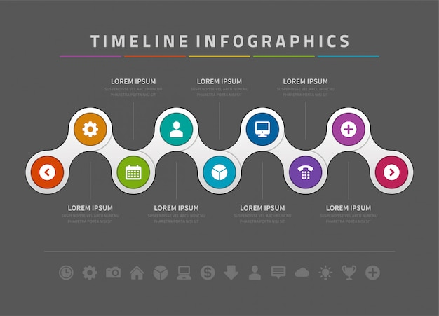 Infografiki i ikony wektor szablon projektu osi czasu.
