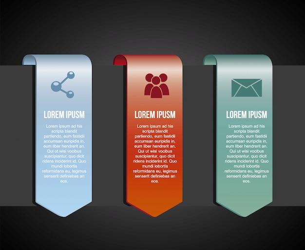 Infografiki ikony na czarnym tle ilustracji wektorowych