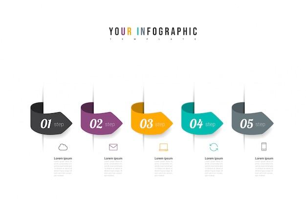 Infografiki ikony projektowania i marketingu z pięcioma opcjami, krokami lub procesami. może być wykorzystywany do raportów rocznych, diagramów, prezentacji, stron internetowych. koncepcja modelu biznesowego. wektor .