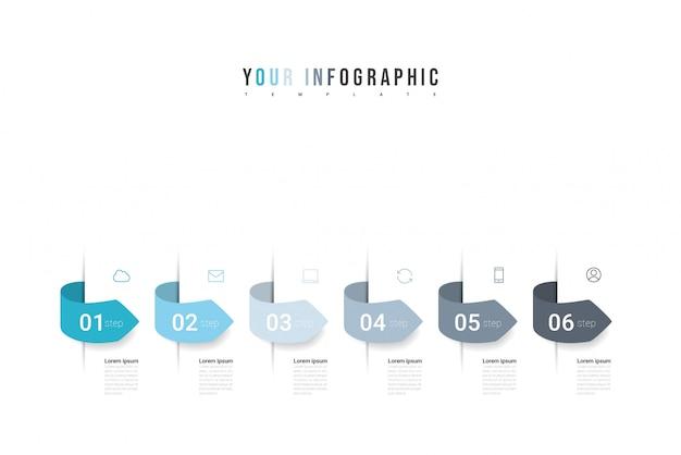 Infografiki ikony projektowania i marketingu z sześcioma opcjami, krokami lub procesami. może być wykorzystywany do raportów rocznych, diagramów, prezentacji, stron internetowych. koncepcja modelu biznesowego. ilustracja.