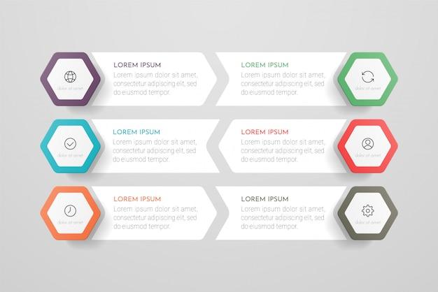 Infografiki ikony projektowania i marketingu z sześcioma opcjami, krokami lub procesami. może być wykorzystywany do raportów rocznych, schematów blokowych, diagramów, prezentacji, stron internetowych.