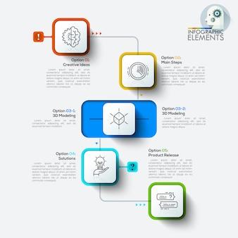 Infografiki ilustracji wektorowych cztery zaokrąglony prostokąt.