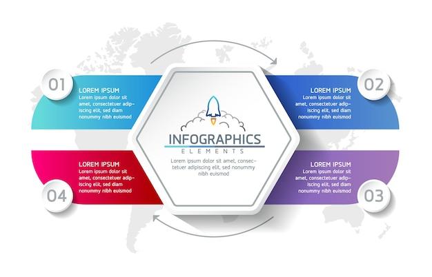 Infografiki ilustracji wektorowych zaprojektuj szablon informacji marketingowych z 4 opcjami lub krokami