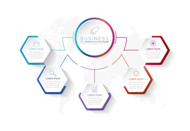 Infografiki ilustracji wektorowych zaprojektuj szablon informacji marketingowych z 5 opcjami lub krokami