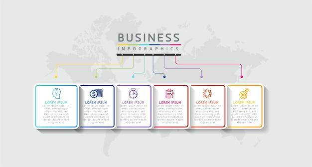 Infografiki ilustracji wektorowych zaprojektuj szablon informacji marketingowych z 6 opcjami lub krokami