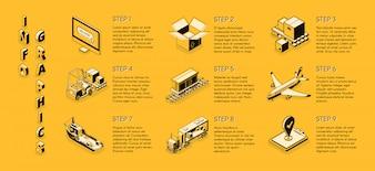 Infografiki izometryczne dostawy firmy