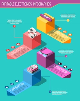 Infografiki izometryczne przenośnej elektroniki