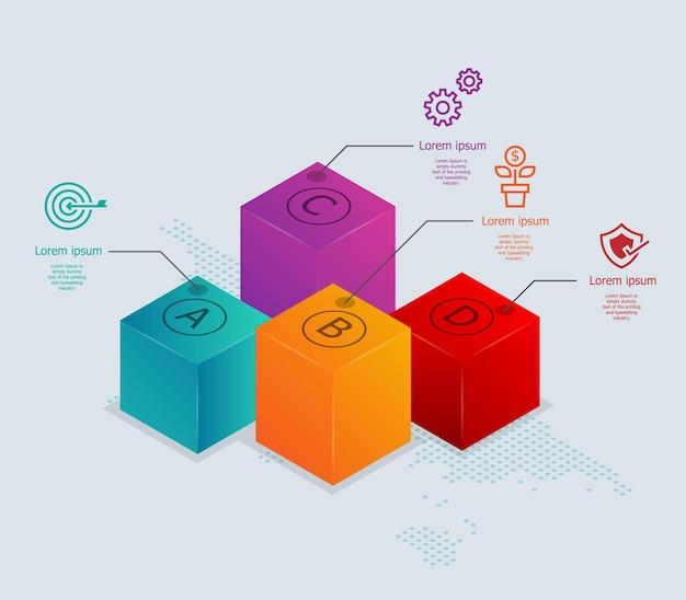 Infografiki izometryczne streszczenie pudełka 4 kroki