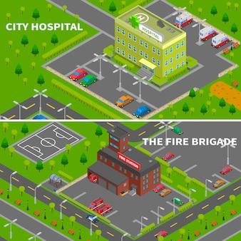 Infografiki izometryczne szpitala i straży pożarnej