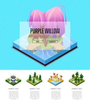 Infografiki izometryczny krajobraz parku